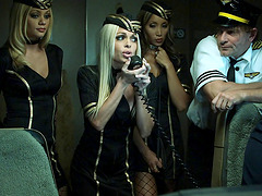 Stewardess sluts have a wild orgy and..