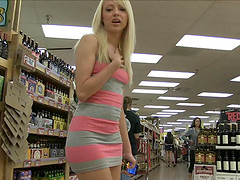 Sweet teen blonde finds a banana at..