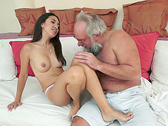 Bearded old guy fucks this cute chick..