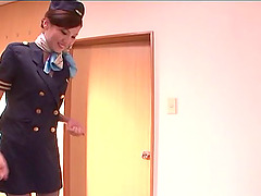 Asian stewardess gives an erotic CFNM..