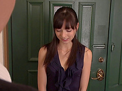 Beautiful Japanese girl places her..