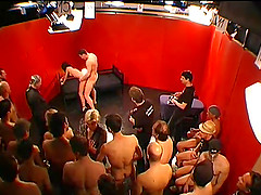Lusty gangbang party with lots of guys..