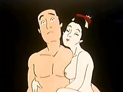 Cartoon girl in a kimono fucks a guy