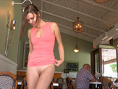 Restaurant upskirt with the cute girl..