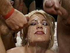 Huge bukkake mess on the face of a..