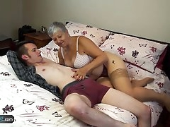 Old lady Savana fucked by student Sam..