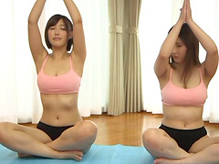 Sexy Japanese yoga girls hook up for a..