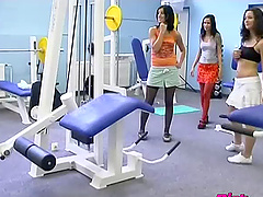 Sporty sluts have an orgy in the gym..