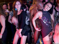 Girls dance and fuck wildly at a night..
