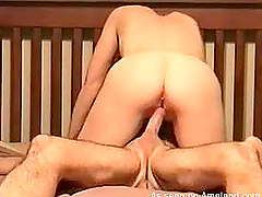 Homemade video of a chubby wife riding on her husband's cock