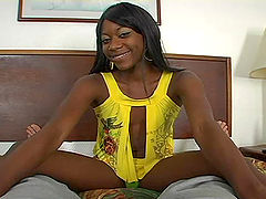 Ebony babe fucks doggystyle after giving hot blowjob