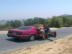Hitchhiking redhead gets double teamed..