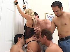 Dicks surround the skinny slut as she..