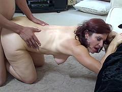 Saggy mature titties bouncing around..