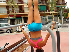 Sexy athletic babe stops her workout..