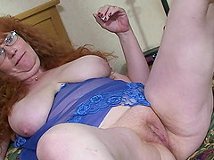 Chubby mature redhead with milky white..