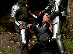 Knights and a dirty slut have double..