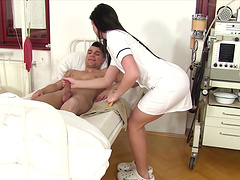 Nurse jerks him off and gets fucked in..