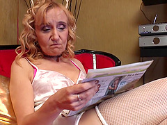 Sexy granny in a lingerie set gets..
