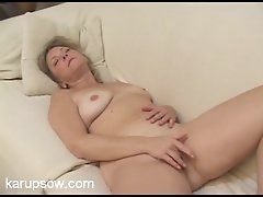Curvy solo mom on her couch playing..