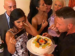Birthday party blowjob orgy with girls..