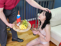 Girl gets an enema and takes his dick..