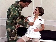 Smoking hot brunette nurse Lora gets..