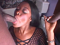 Hot Ebony In Sexy Lingerie Fucked By 2 Black Dudes.