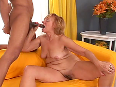 Mature blond milf Lady gets her mouth..