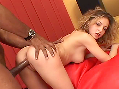 Sexy white chick enjoys hard sex with..