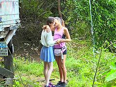 Spontaneous lesbian teen kissing her..