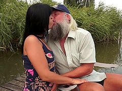 Chubby grandpa fucks a slut outdoors..