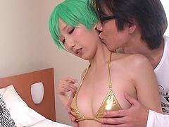 Shiny gold bikini on his tempting..