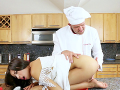Chef and a skinny girl have hot..