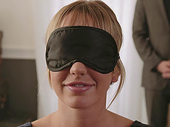 Brett Rosi is now blindfolded and..