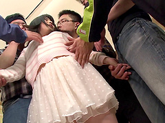 Asian in a miniskirt gangbanged by a..