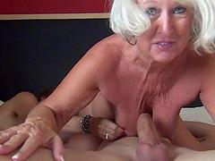 Two horny grandmas get screwed really..