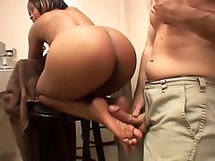 Cute and busty black chick gives a..