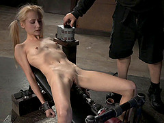 Slim blonde cutie sucks on a rod and..
