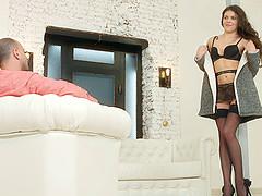 Erotic brunette in high heels enjoying..
