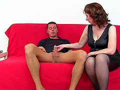Mature chick with a hairy beaver..