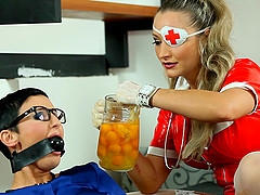 Latex nurse pours thick yellow goo on..