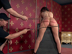 Bondage brunette with nice pussy..
