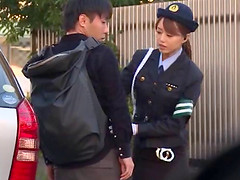 Japanese policewoman is ready to do..