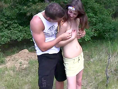 Small tits teen enjoying doggystyle..