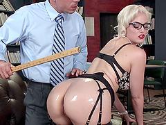 Jenny shoves a gigantic dildo in her..