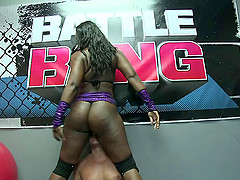 WWE fighter gives the ebony chick a..