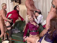 Raunchy group sex session featuring a..
