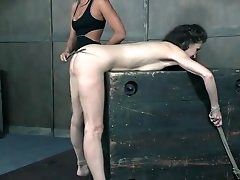 Bound granny caned on her sexy ass