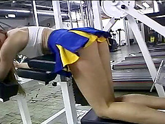 Sports cheerleader in uniform anal..